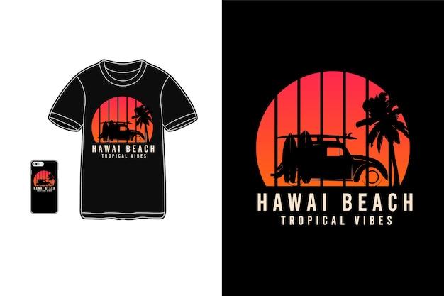 Vibrazioni tropicali della spiaggia delle hawaii, tipografia di mockup di siluet merchandise di t-shirt Vettore Premium