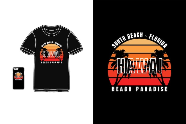 Tipografia del paradiso delle hawaii Vettore Premium