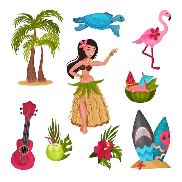 Simboli delle hawaii impostati con la ragazza in un costume tradizionale Vettore Premium