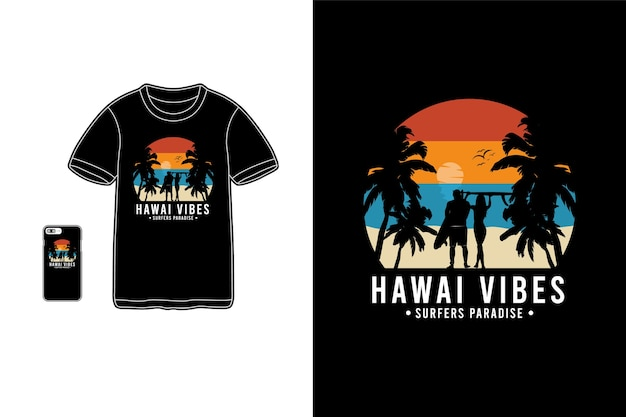 Sagoma di merce t-shirt hawaii vibes Vettore Premium