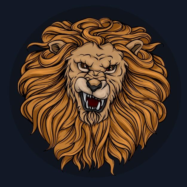 La testa di un leone ruggente con una criniera Vettore Premium