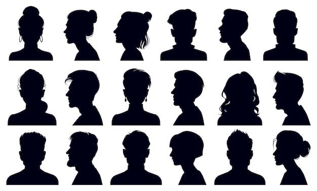 Sagome di testa. ritratti di volti femminili e maschili, sagoma testa di persona anonima Vettore Premium