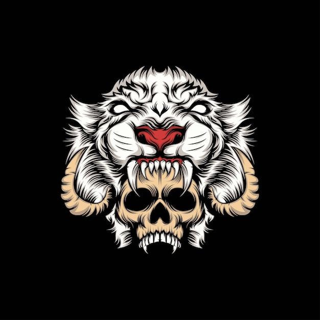 Testa cranio e illustrazione mascotte leone bianco Vettore Premium