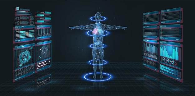 Head up display hud ui, gui medica. interfaccia hud medica moderna grafica virtuale futuristica. infografica medica. hi-tech, ricerca sulla salute umana. scansione diagnostica, corpo umano a raggi x digitali Vettore Premium