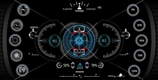 Visualizzazione del gioco head-up. Vettore Premium