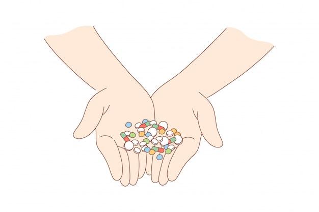 Salute, cura, medicina, dipendenza, droga, concetto di pubblicità Vettore Premium