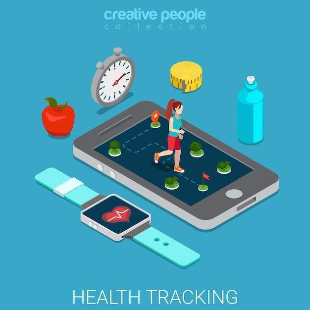 Salute monitoraggio piatto stile di vita sano isometrico Vettore Premium