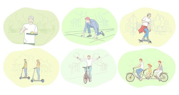 Stile di vita attivo sano, sport, concetto di hobby per il tempo libero. Vettore Premium