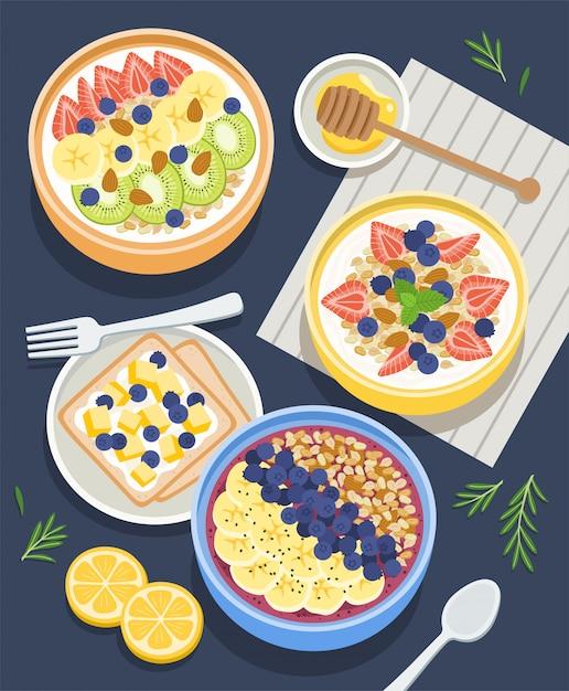 Ingredienti sani per la colazione Vettore Premium