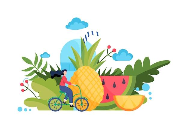 Concetto di cibo sano. idea di menù biologico e alimentazione naturale. ragazza in sella a una bicicletta. corpo e salute. concetto di vita sana. stile Vettore Premium