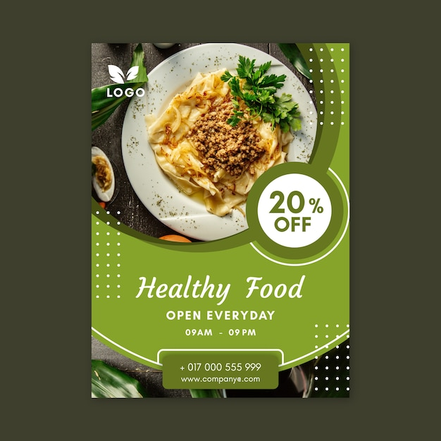 Modello di poster ristorante cibo sano Vettore Premium