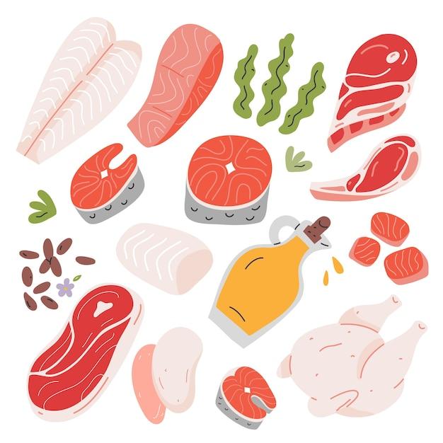 Cibo sano salmone e carne di agnello ingredienti da cucina Vettore Premium