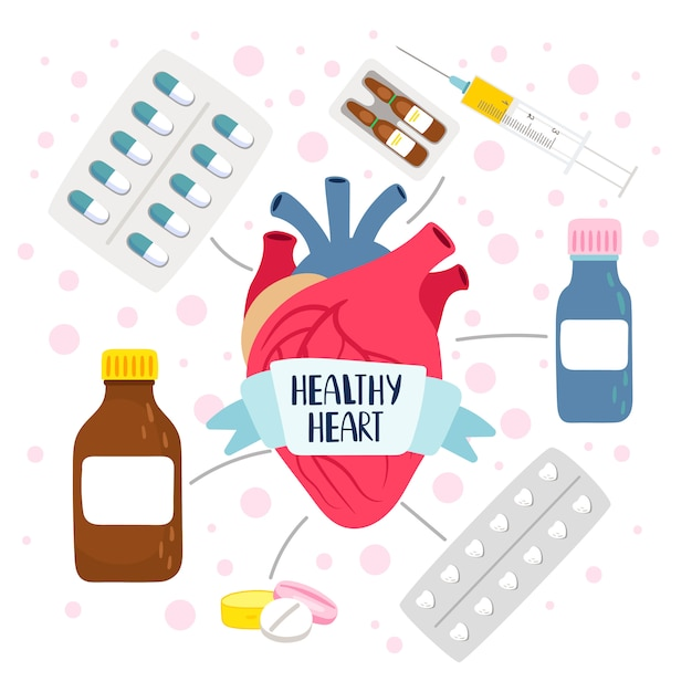Cuore e pillole sani Vettore Premium