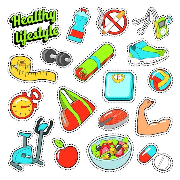 Stile di vita sano con elementi di cibo e sport per adesivi. doodle di vettore Vettore Premium