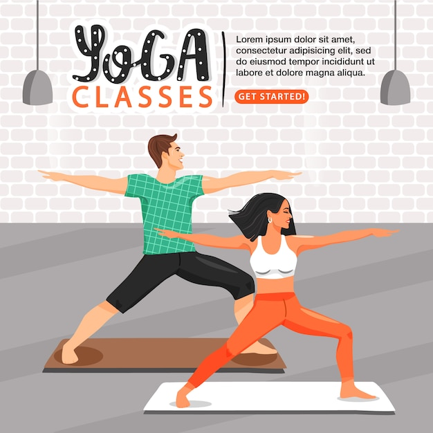 Stile di vita sano e modello di yoga. Vettore Premium