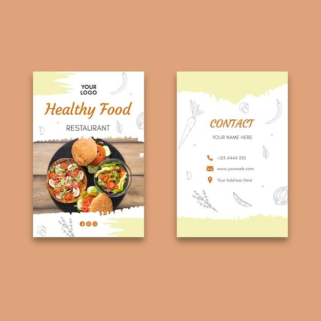 Biglietto da visita ristorante sano Vettore Premium