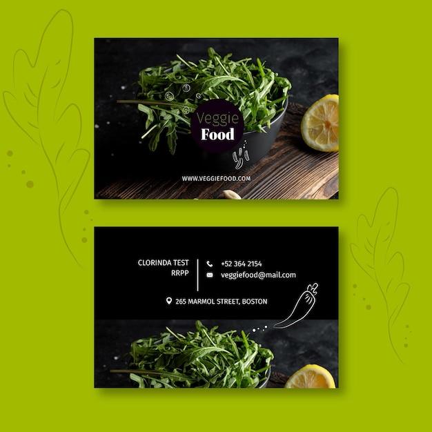 Modello di biglietto da visita orizzontale ristorante sano Vettore Premium