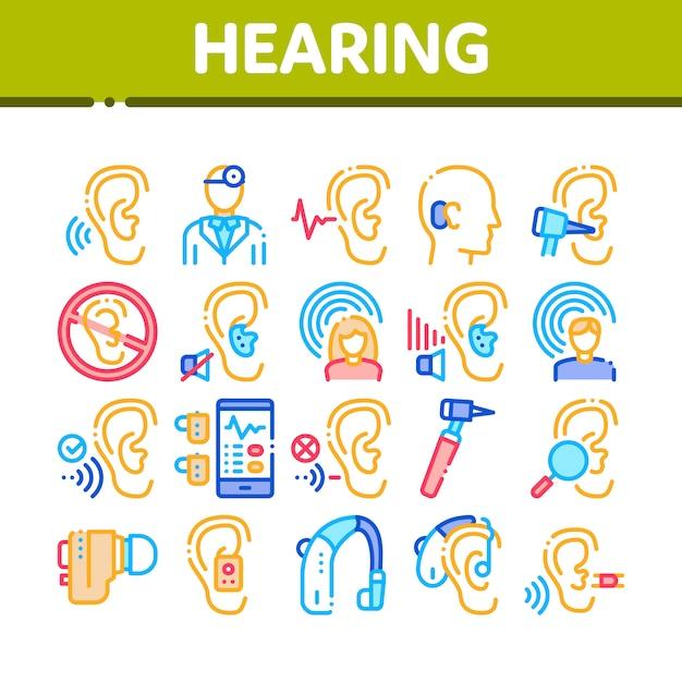 Set di icone della raccolta di senso umano dell'udito Vettore Premium