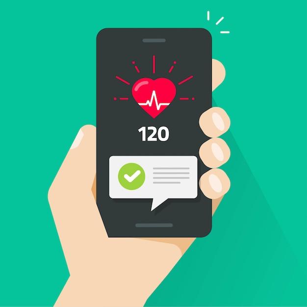 Test di controllo della salute del cuore sulla mano della persona del tracker dell'app del telefono cellulare dello smartphone Vettore Premium