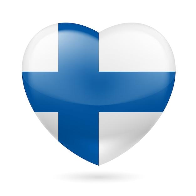 Icona del cuore della finlandia illustrazione Vettore Premium