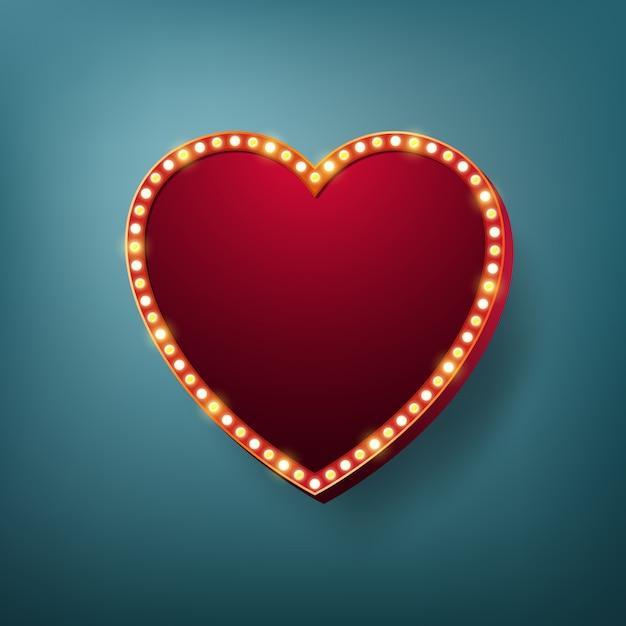 Cornice luminosa a cuore con lampadine elettriche. Vettore Premium