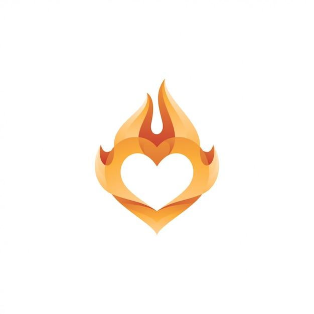 Cuore amore e fuoco fiamma logo Vettore Premium
