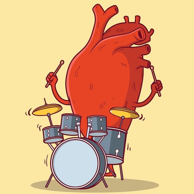 Illustrazione di tamburi suona cuore Vettore Premium