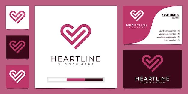 Logo del modello icona simbolo del cuore Vettore Premium
