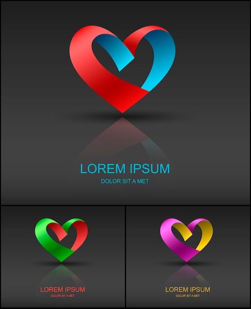 Modello di progettazione di logo di nastro di san valentino cuore Vettore Premium