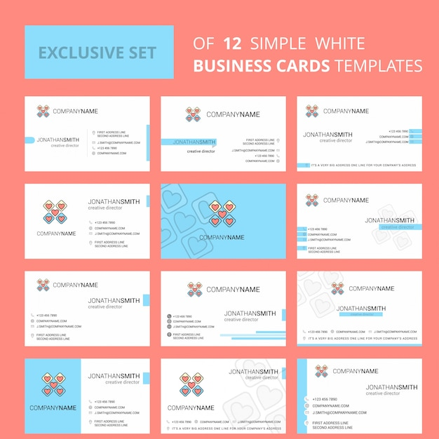 Modello di carta di busienss blocchi di cuori. logo creativo modificabile e biglietto da visita Vettore Premium