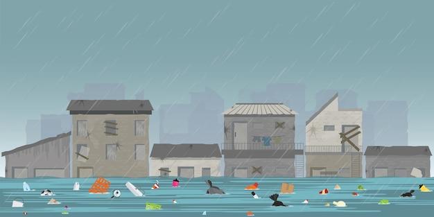 Forti piogge e inondazioni della città nella città delle baraccopoli. Vettore Premium