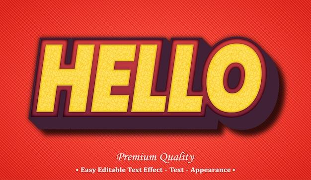 Ciao effetto stile testo modificabile 3d Vettore Premium