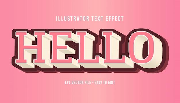 Ciao effetto di testo editabile di vettore env di stile del testo di rosa rosa 3d Vettore Premium