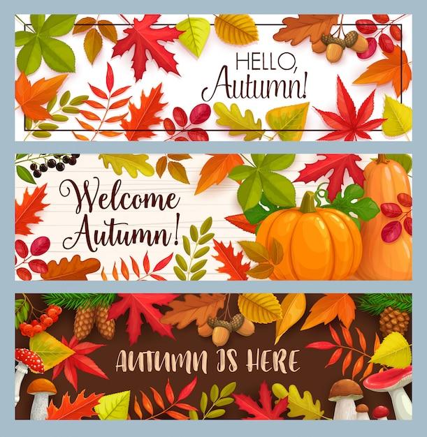 Ciao striscioni autunnali con foglie che cadono Vettore Premium