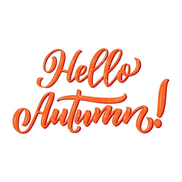 Ciao autunno. calligrafia disegnati a mano e pennello penna lettering. Vettore Premium