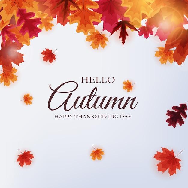 Ciao autunno. felice giorno del ringraziamento sfondo con foglie che cadono. Vettore Premium