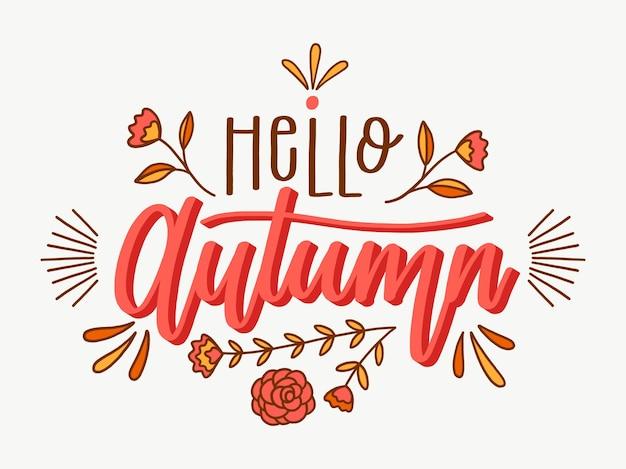 Ciao autunno - concetto di lettering Vettore Premium