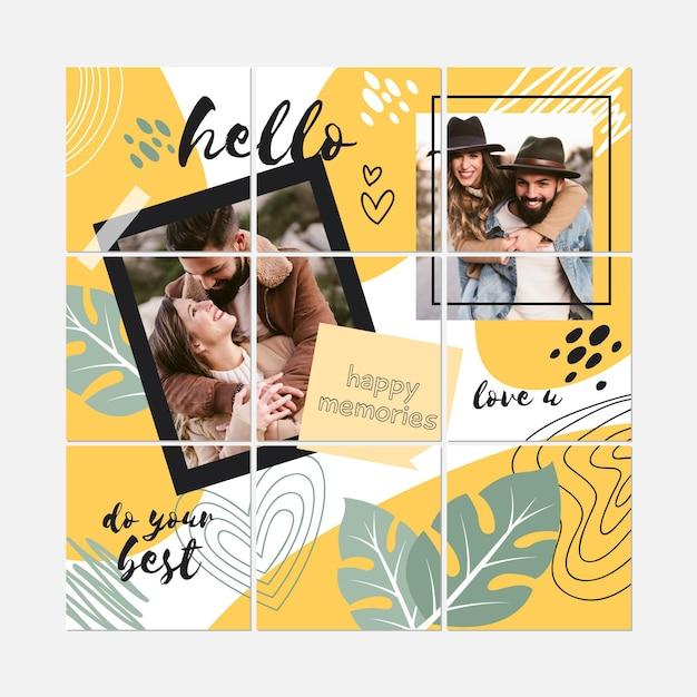 Ciao coppia instagram puzzle collection Vettore Premium