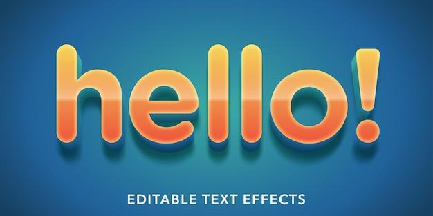 Ciao effetti di testo modificabili Vettore Premium