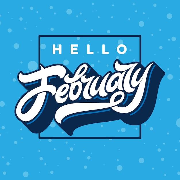 Ciao tipografia di febbraio con cornice rettangolare con neve che cade. Vettore Premium