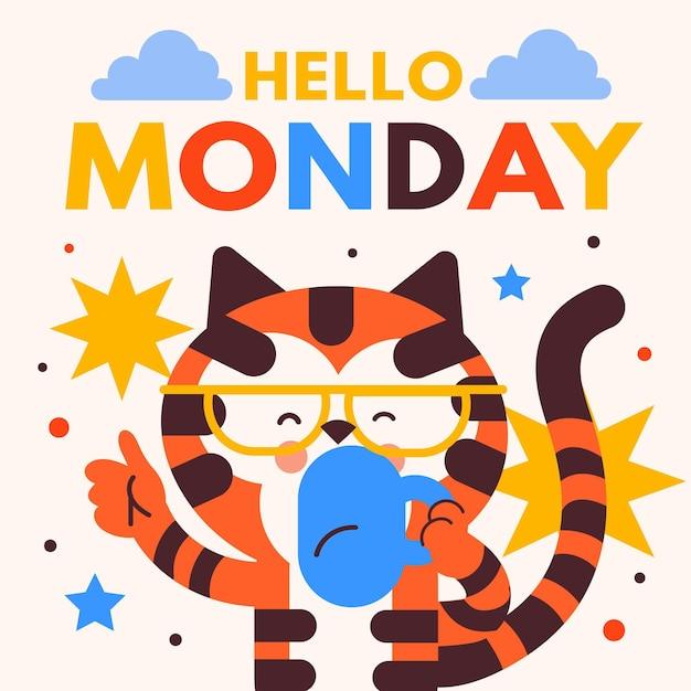 Ciao sfondo lunedì con gatto che beve caffè Vettore Premium