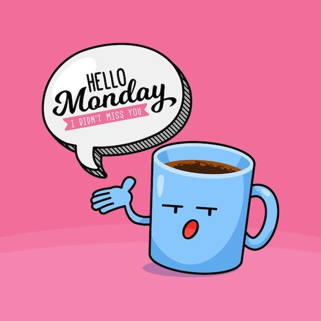 Ciao sfondo lunedì con una tazza di caffè Vettore Premium