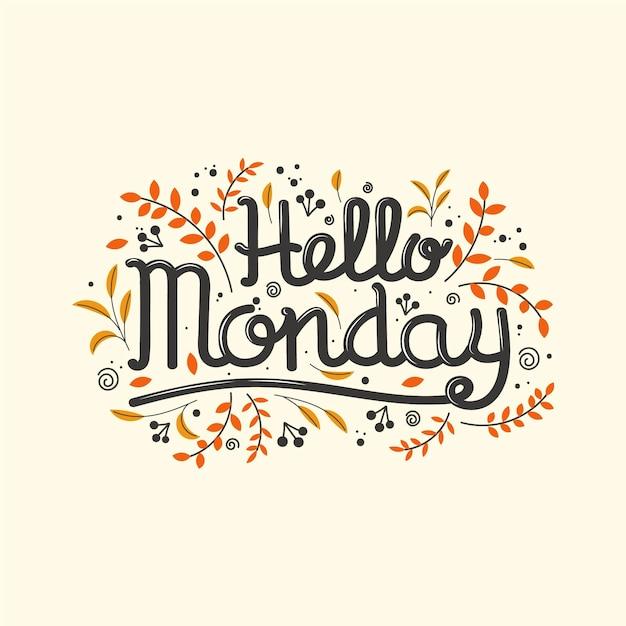 Ciao scritte di lunedì con elementi floreali Vettore Premium