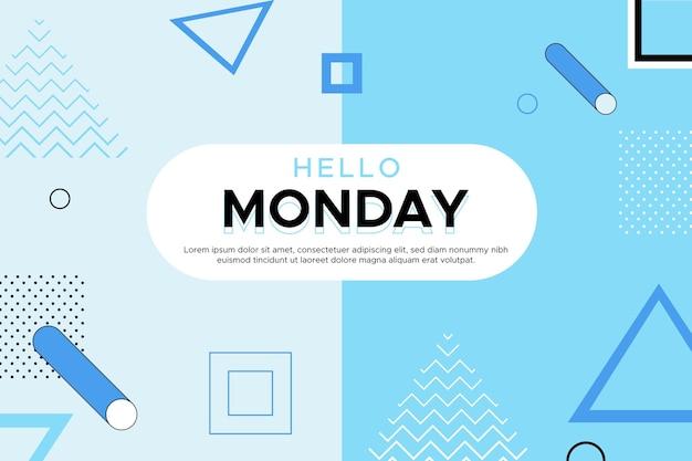 Ciao lunedì sfondo di memphis Vettore Premium