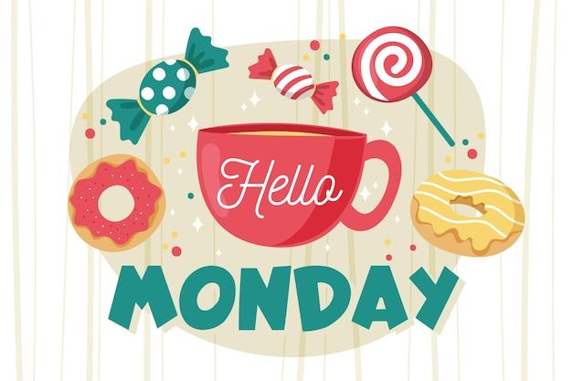 Ciao messaggio di lunedì con caramelle illustrate Vettore Premium