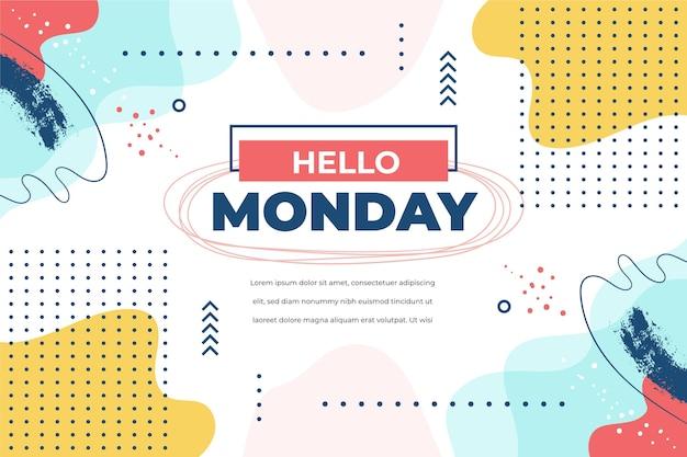 Ciao modello lunedì con punti Vettore Premium
