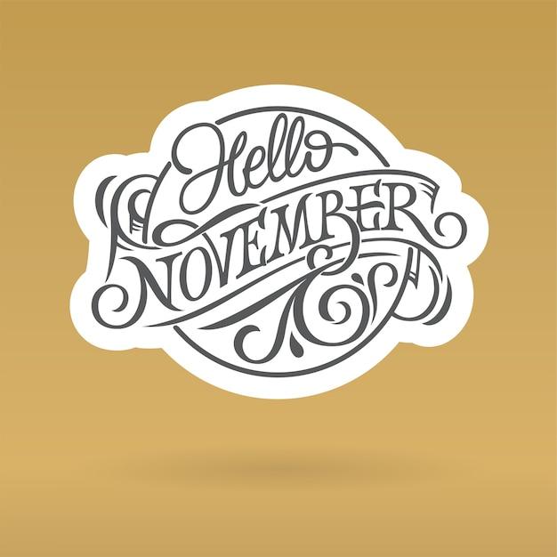 Ciao novembre logo nel cerchio di forma Vettore Premium