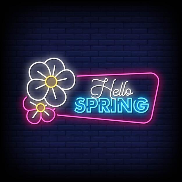 Ciao spring neon sign style style Vettore Premium