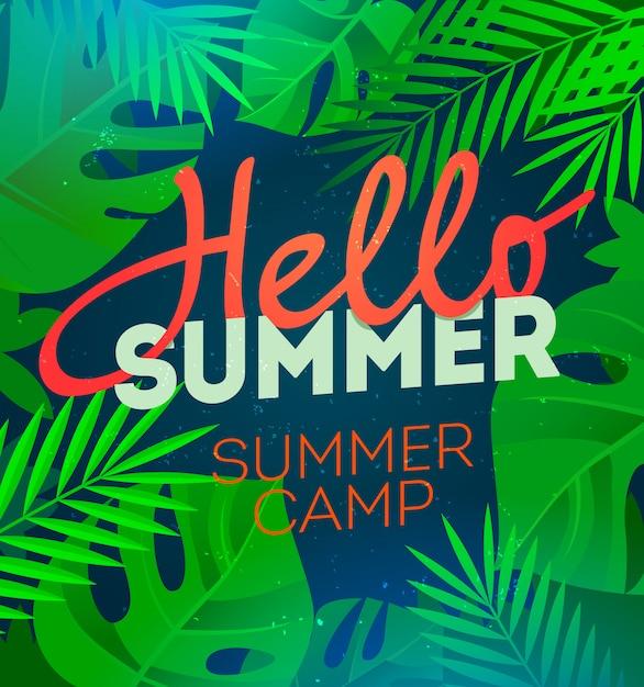 Ciao manifesto festa estiva con foglia di palma e lettering campo estivo. Vettore Premium