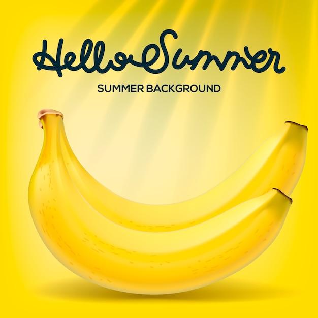Ciao manifesto estivo con banane su sfondo giallo, illustrazione. Vettore Premium